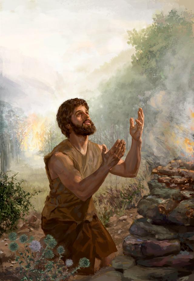 Ábel pred oltárom obetoval Hospodinovi obeť. V pozadí cherubi blokujú vstup do záhrady Eden.