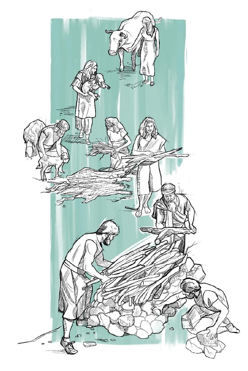 Noe a jeho rodina zbierali zvieratá a stavali oltár, aby obetovali.