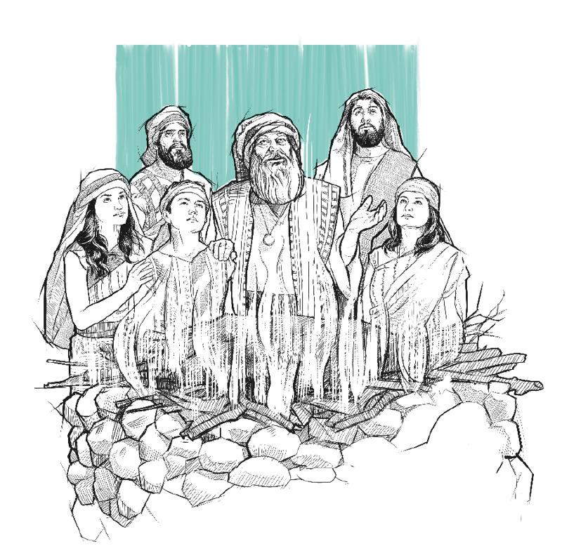 Jacob a jeho rodina obetovali oltár.