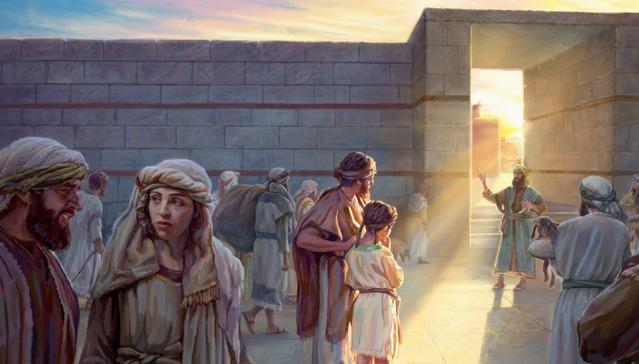 Ezekiel so svojím otcom počúvali proroka Jeremiáša v chráme.