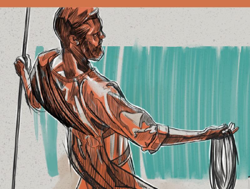 Muž, ktorého vzhľad je z medi, ktorý drží ľanovú šnúru a meraciu trstinu.