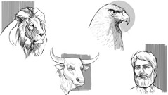 Lion, bull, eagle, man