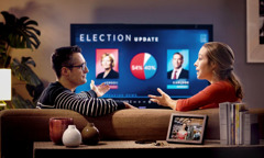 A Christian couple talking about a political election they are watching on television.