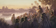 Wayahudi walio Babiloni wasikiliza kitabu cha kukunjwa cha unabii wa Ezekieli kikisomwa