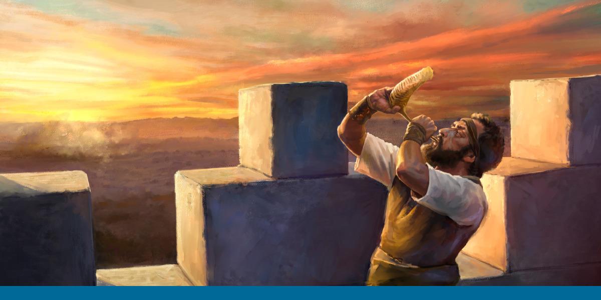 b5ecbfaf14 Um vigia no alto das muralhas de Jerusalém tocando a trombeta para dar um  aviso