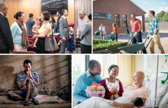 Collage: Worshippers of Jehovah. 1. Brothers and sisters enjoying association at a Kingdom Hall. 2. Brothers and sisters helping with the maintenance of a Kingdom Hall. 3. A brother praying while in prison. 4. A couple visiting a sister who is very ill at a hospital.
