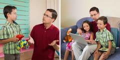Un padre lee el libro Aprendamos del Gran Maestro a sus hijos