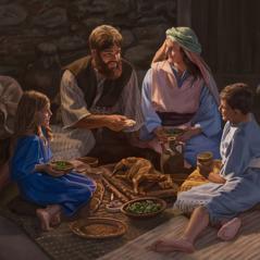 Uma família de israelitas celebra a Páscoa