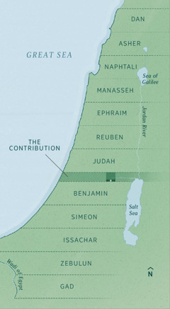 A map showing the boundaries of the land allotment for returning exiles, as recorded by Ezekiel. Tribal inheritances are laid out evenly from north to south starting with Dan, Asher, Naphtali, Manasseh, Ephraim, Reuben, Judah, The Contribution (administrative strip), Benjamin, Simeon, Issachar, Zebulun, and Gad.