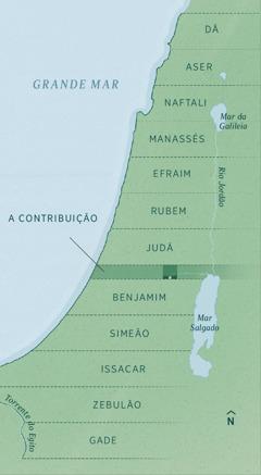 """Um mapa mostrando os limites da terra distribuída entre os exilados, conforme registrado por Ezequiel. A herança de cada tribo está distribuída em partes iguais de norte a sul, começando com Dã, Aser, Naftali, Manassés, Efraim, Rubem, Judá, a """"contribuição"""" (faixa administrativa), Benjamin, Simeão, Issacar, Zebulão e Gade."""