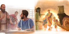 شدرخ وميشخ وعبدنغو يخرجون من اتون النار سالمين؛ الرسول بولس يُملي رسالة على تيموثاوس وهو في الاقامة الجبرية في احد المنازل.