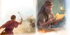 يشوع يقرأ الشريعة؛ داود يقذف حجرا على جليات بالمقلاع