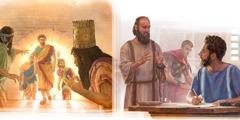 Szadrach, Meszach iAbed-Nego cało wychodzą zognia; przebywający wareszcie domowym apostoł Paweł dyktuje list do Tymoteusza