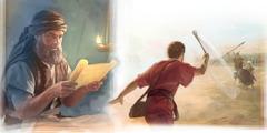 Jozue czyta Prawo; Dawid ciska kamieniem wGoliata
