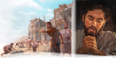 Nehemiah directs the rebuilding of Jerusalem's walls and the posting of guards; Jesus prays