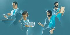 یسوع مسیح بات کر رہے ہیں؛ یسوع مسیح ایک طومار سے پڑھ رہے ہیں؛ ایک بھائی تقریر کر رہا ہے؛ ایک بہن ایک عورت کو ویڈیو دِکھا رہی ہے۔
