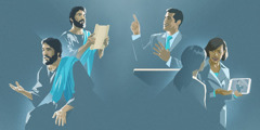 Jesus fala; Jesus lê um rolo; um irmão faz um discurso; uma irmã mostra um vídeo a uma mulher