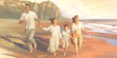 Juj familia makinkumanta jap'inakuspa playapi kusisqa phawashanku