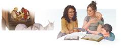 Colaj: 1.Evanghelizatorul Filip îi explică Scripturile unui etiopian. 2.O Martoră a lui Iehova discută pe baza Bibliei cu o mamă și cu cei doi copii ai ei.