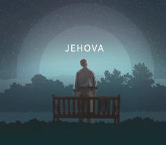 Mies katselee yötaivasta. Kuvassa taivaalle on kirjoitettu nimi Jehova.