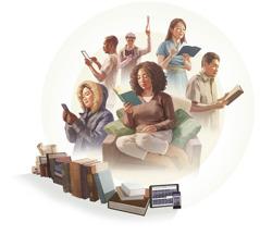 Eri etnisistä taustoista olevia ja eri kansallisuuksiin kuuluvia ihmisiä lukemassa Raamattua omalla kielellään.