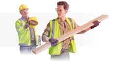 Stavbár podáva prilbu svojmu kolegovi