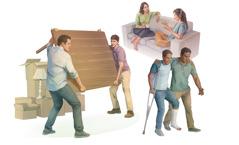 Blízki priatelia si pomáhajú: 1.jeden muž pomáha druhému preniesť veľký stôl; 2.žena sa zveruje svojej priateľke; 3.muž pomáha svojmu priateľovi, ktorý má zlomenú nohu aopiera sa obarlu