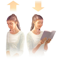 1.žena sa modlí; šípka nad jej hlavou smeruje hore; 2.žena číta Bibliu; šípka nad jej hlavou smeruje dole