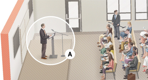 A. Jehovan todistaja -mies pitää Raamattuun perustuvaa puhetta lavalla kokouksen aikana.