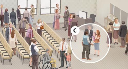 C. Jehovan todistaja -mies puhuu perheen kanssa kokouksen jälkeen.