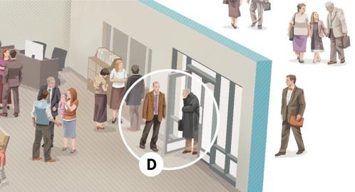 D. Jehovan todistaja -mies pitää ovea auki iäkkäälle miehelle, joka on tulossa kokoukseen.