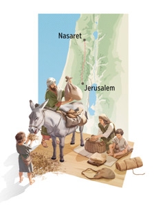 Kuvakollaasi: Joosef, Maria, Jeesus ja yksi Jeesuksen sisaruksista valmistautuvat matkalle. 1. Joosef lastaa tavaroita aasin selkään, ja Maria valmistaa matkaeväitä. 2. Kartta, jossa näkyy reitti Nasaretista Jerusalemiin.
