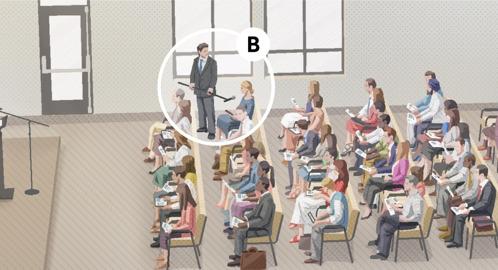 B. Durante una reunión, una Testigo sentada en el auditorio comenta en una sección de la reunión en la que se hacen preguntas.
