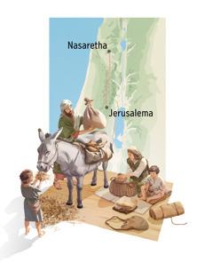 Ditshwantsho: Josefa, Marea, Jesu le monnawe ba ipaakanyetsa loeto. 1.Josefa o pega merwalo mo tonking, le Marea o baakanya dijo. 2.Mmapa o o bontsha tsela e e tswang Nasaretha e ya Jerusalem.