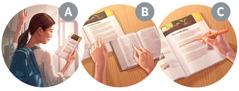 Kuvakollaasi: Nainen valmistautuu raamattukurssille. A. Hän lukee oppijakson ensimmäistä sivua. B. Hän lukee aineistossa mainitut raamatunkohdat Raamatusta. C. Hän merkitsee avainsanat ja -ilmaukset korostuskynällä.