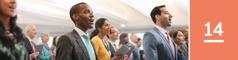 14.lekcia: Niekoľko Jehovových svedkov aľudí, ktorí sa zaujímajú oBibliu, spieva na zhromaždení