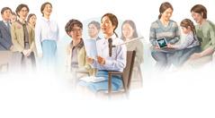 Mladá žena, ktorá študuje Bibliu, sa učí uctievať Boha správnym spôsobom: 1.chváli Boha spevom na zhromaždení; 2.dáva komentár na zhromaždení; 3.mladá žena, ktorá študuje Bibliu, ukazuje inej žene ajej dcérke video založené na Biblii
