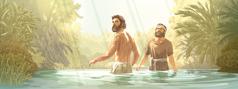 Ježiš aJán Krstiteľ stoja vo vode ahneď po Ježišovom krste počujú hlas zneba
