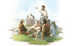 Ježiš vyučuje skupinu mužov, žien adetí