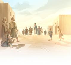 Jeesus kävelee erääseen kylään opetuslastensa kanssa.