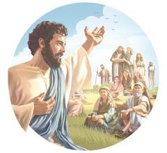Jeesus pitää vuorisaarnaa. Häntä kuuntelee joukko miehiä, naisia ja lapsia.