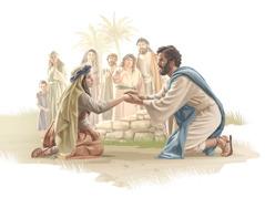 Jeesus kumartuu puhumaan pelästyneelle naiselle, joka on juuri ihmeen avulla parantunut verenvuotoa aiheuttavasta sairaudesta.