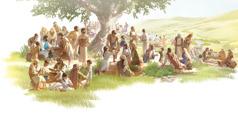 Jeesus ruokkii ihmeen avulla tuhansia ihmisiä viidellä leivällä ja kahdella kalalla. Opetuslapset jakavat ruokaa miehille, naisille ja lapsille.