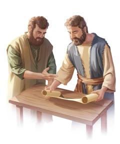 Dvaja kresťania vprvom storočí skúmajú zvitok, lebo sa chcú dozvedieť biblickú pravdu