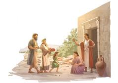 Rodina kresťanov vprvom storočí ide na návštevu kspoluveriacim anesie košíky sjedlom