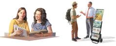 Kuvakollaasi: Jehovan todistajia kenttätyössä. 1. Sisar näyttää raamatunkohtaa naiselle. 2. Veli puhuu miehelle Raamatusta todistuskärryn luona.