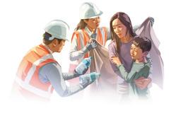 Kaksi Jehovan todistajaa auttaa äitiä ja lasta luonnononnettomuuden jälkeen. He käärivät heidät lämpimään huopaan ja antavat heille puhdasta juomavettä.