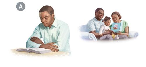 A. Kuvakollaasi: Vanhin huolehtii omasta ja perheensä hengellisyydestä. 1. Hän rukoilee ennen kuin alkaa tutkia Raamattua. 2. Hän ja hänen vaimonsa kertovat Raamatusta pienelle tyttärelleen.