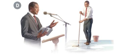 D. Kuvakollaasi: 1. Sama vanhin pitää puhetta seurakunnan kokouksessa. 2. Hän pesee valtakunnansalin lattiaa.