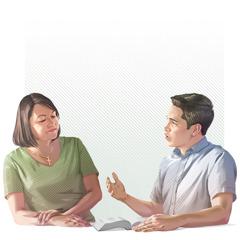 Raamattukurssioppilas kertoo sukulaiselleen, mitä on oppinut Raamatusta.